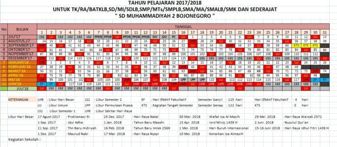 Kalender Pendidikan Tahun 2017/2018 TK/RA/BATKLB,SD/MI/SDLB,SMP/MTs/SMPLB,SMA/MA/SMALB/SMK
