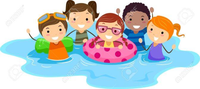cartoon anak berenang