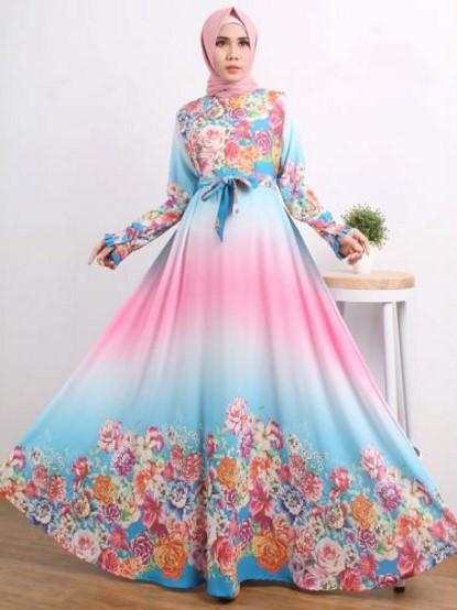 Baju Lebaran model gamis floral