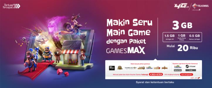 paket internet telkomsel eentertaiment games max